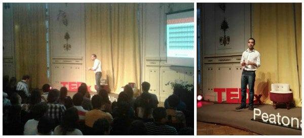 Collage de Mati en la charla de TEDx