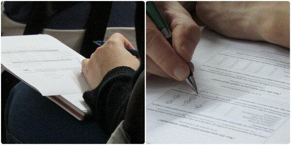 Collage con fotos de personas tomando notas o haciendo encuestas