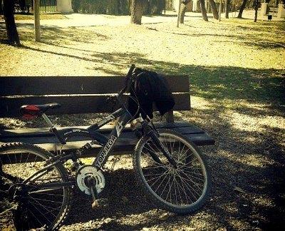 Una bicicleta en un parque.