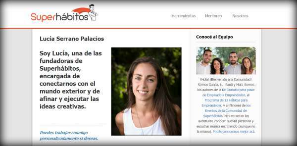 Biografía de Lucía en Superhabitos.com